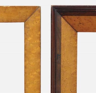 A pair of maple veneered pictu