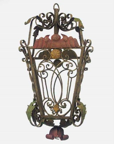 A painted wrought iron lantern