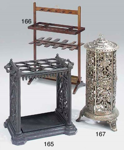A steel standing stove, 20th c