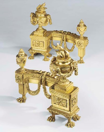 A pair of gilt bronze chenets,