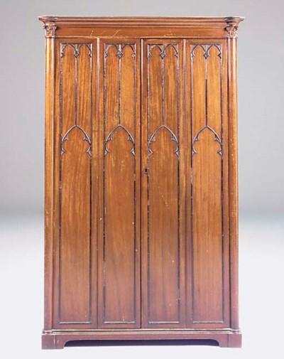 A mahogany cupboard, 19th cent