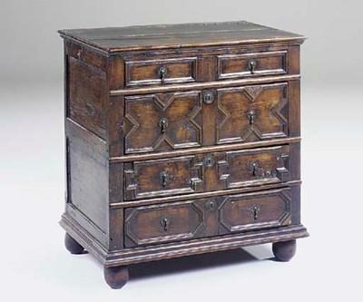 An oak chest, 17th century