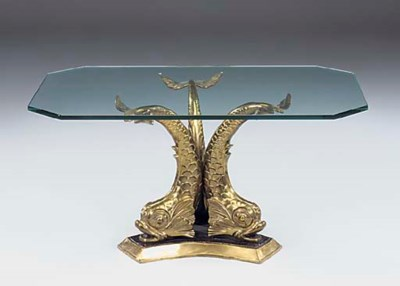 A gilt metal centre table, 20t