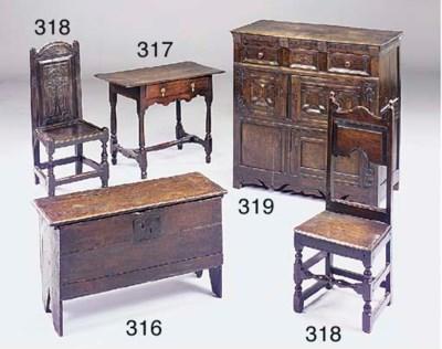 An oak plank chest, 17th centu