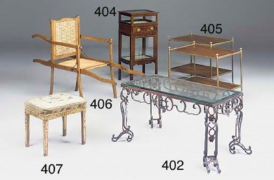 A wrought iron centre table, 2