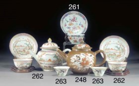 Four famille rose wine cups  Daoguang