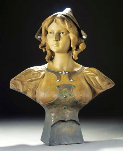 A PATINATED TERRACOTTA BUST