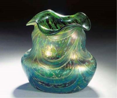 AN IRIDESCENT GLASS VASE