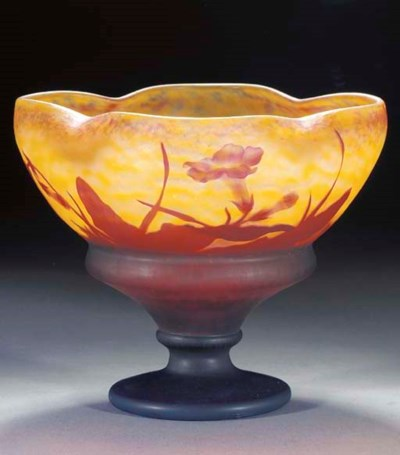 A CAMEO GLASS FOOTED BOWL