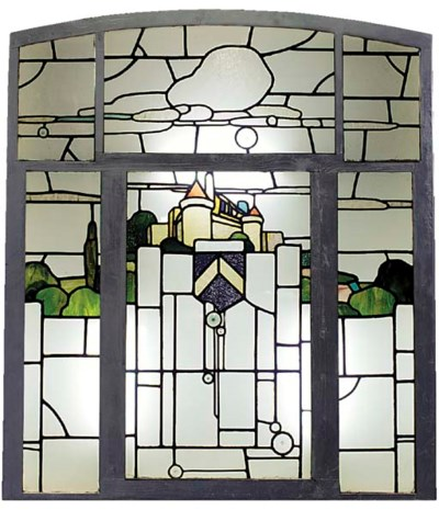 A STAINED AND CLEAR GLASS PANE