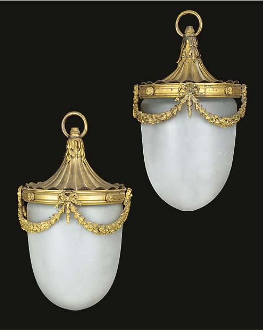 A pair gilt metal and frosted