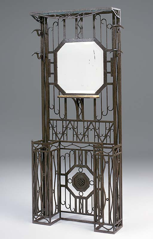 A Continental wrought iron hal
