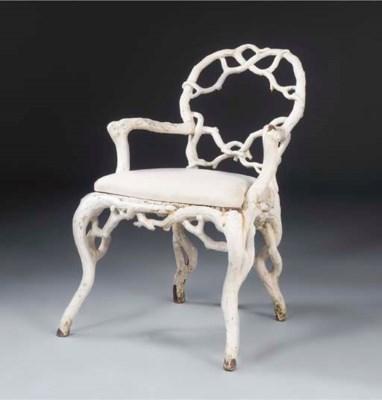 A Victorian cast iron chair