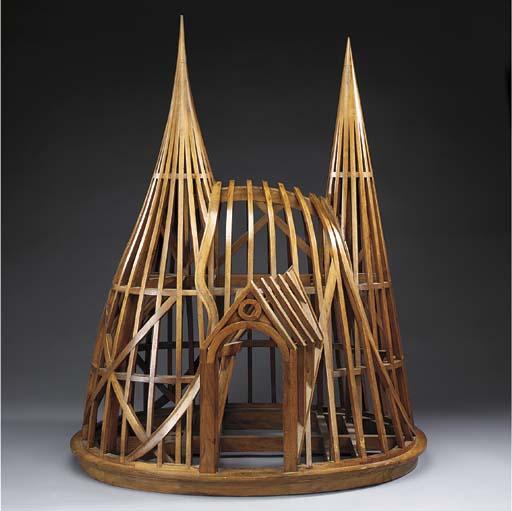 A mahogany architectural model
