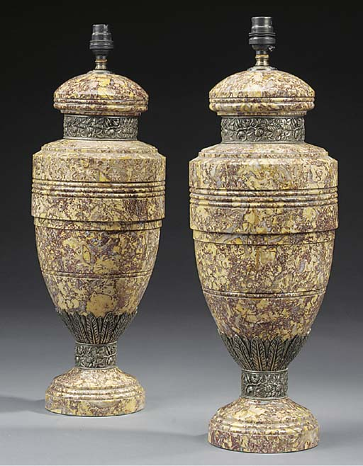 A pair of brocatello lamps  (