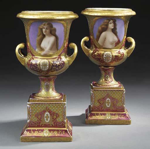 A pair of Viennese porcelain p