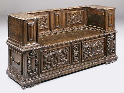 An Italian carved walnut Cassa