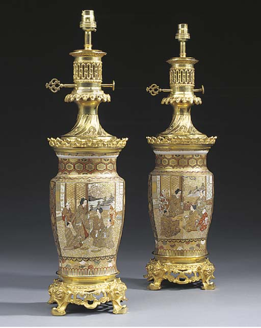A pair of Japanese satsuma porcelain table lamps