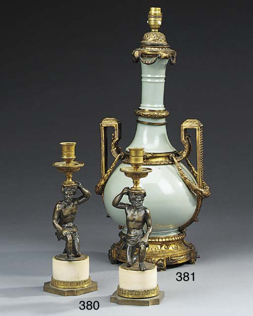 Pair of French gilt bronze and