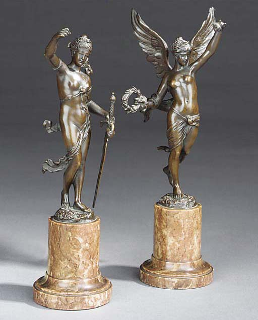 A pair of French bronze allego