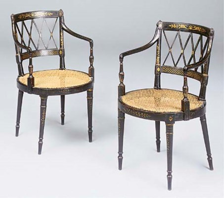 A pair of Regency japanned and