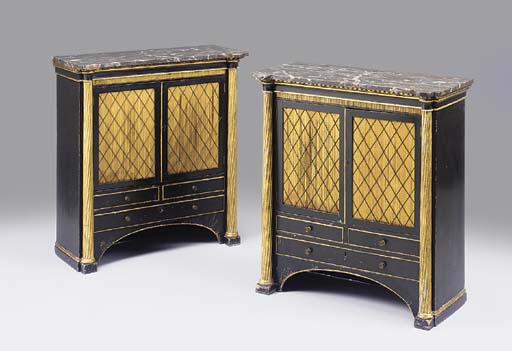 A pair of ebonized and parcel