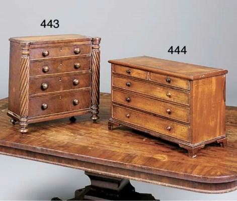 A mahogany miniature chest, 19
