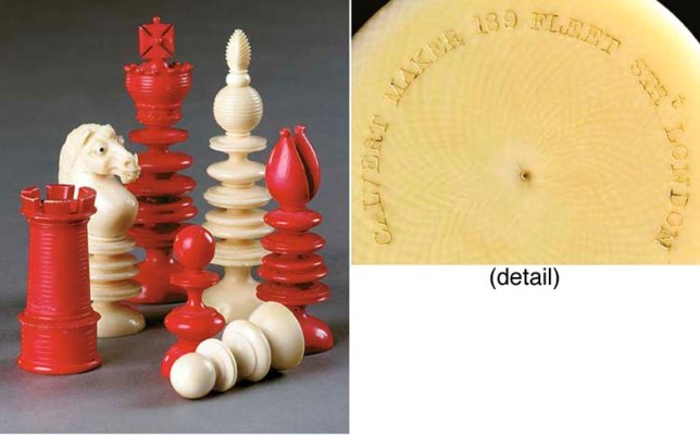 A Victorian ivory chess set