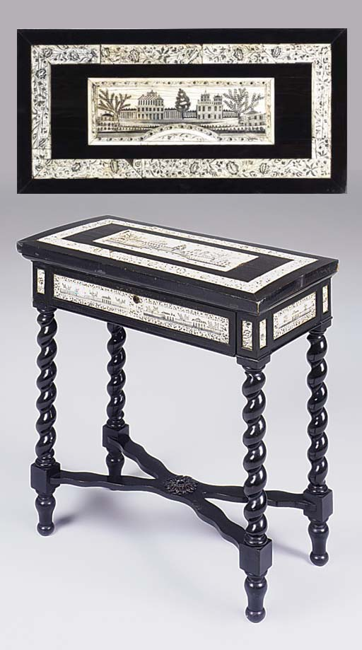 An ebony and engraved ivory si