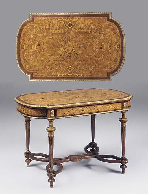 A Victorian marquetry and ormo