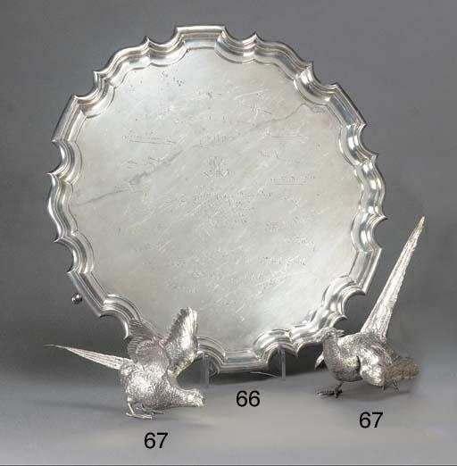 Two Modern Silver Pheasant Orn