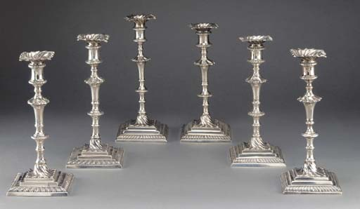 Six Assorted George III Silver Candlesticks
