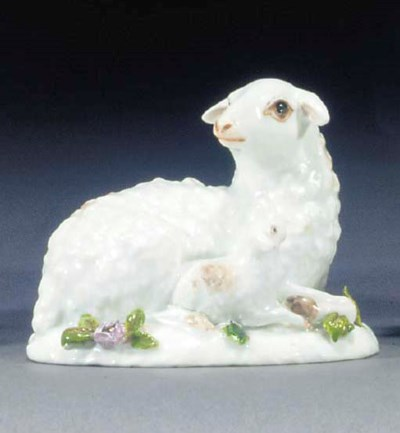 A Meissen group of a ewe and l