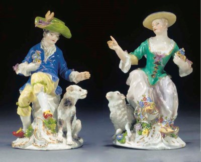 Two Meissen figures of a sheph