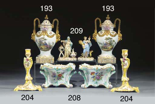 Two Meissen figures and a Germ