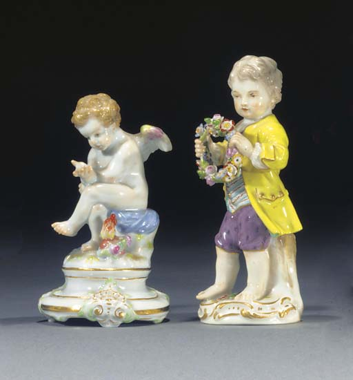 A Meissen figure of a boy and