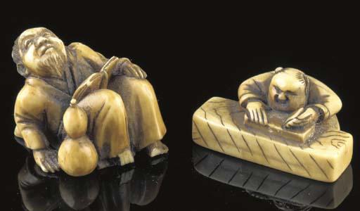 An ivory netsuke of a carpente
