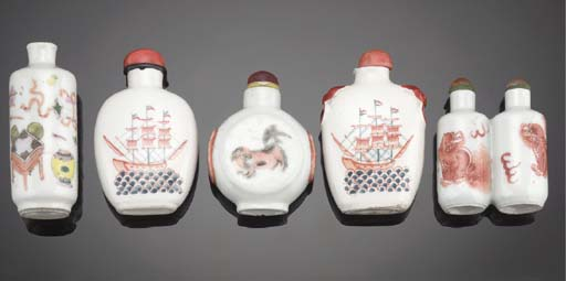 AN IRON-RED PORCELAIN TWIN-SNUFF BOTTLE 19TH CENTURY AND LATER