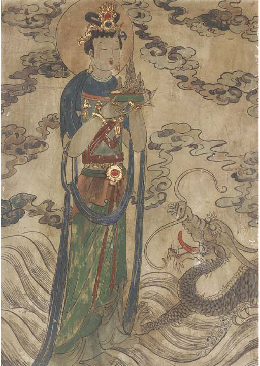A CHINESE FRESCO PAINTING EARL