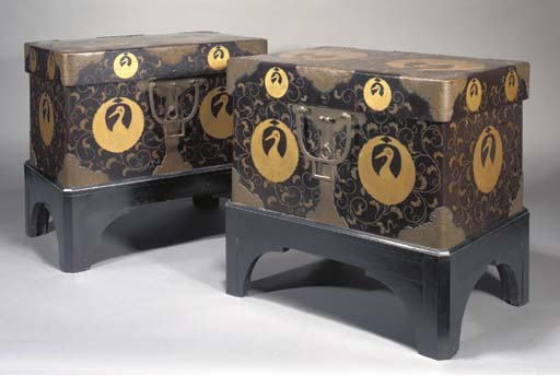 A PAIR OF JAPANESE LACQUER HASAMIBAKO (CHESTS) 19TH CENTURY
