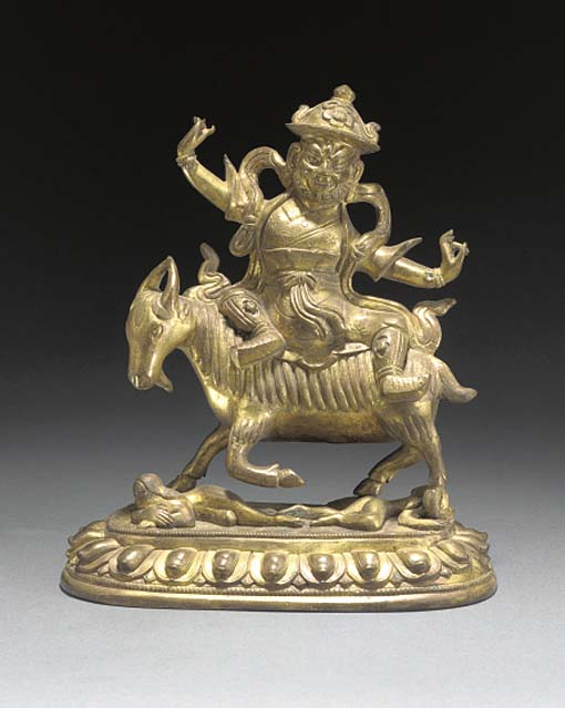 A SINO-TIBETAN GILT BRONZE MODEL OF A DEITY 17TH/18TH CENTURY