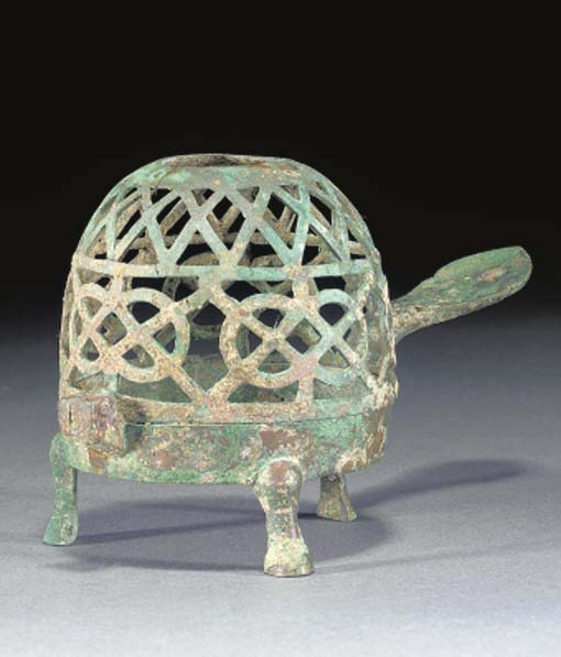 A BRONZE LAMP CENSER