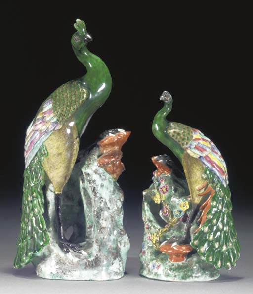 TWO CHINESE MODELS OF PEACOCKS 19TH CENTURY