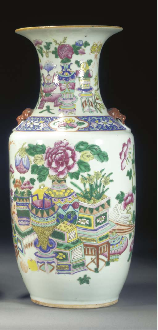 A FAMILLE ROSE VASE 19TH CENTU