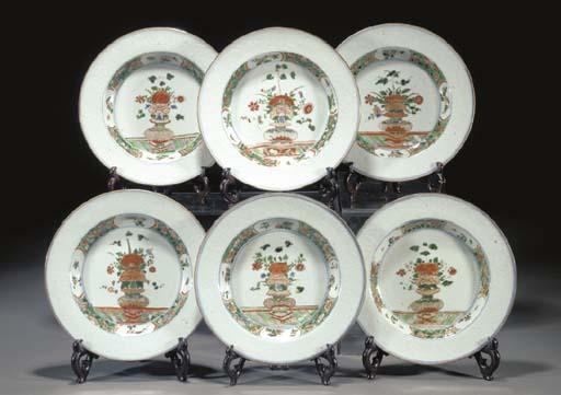SIX FAMILLE VERTE SOUP PLATES