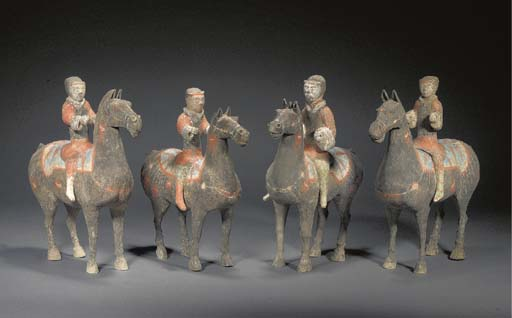 FOUR CHINESE PAINTED POTTERY E