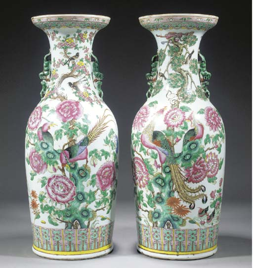 A PAIR OF FAMILLE ROSE VASES 1