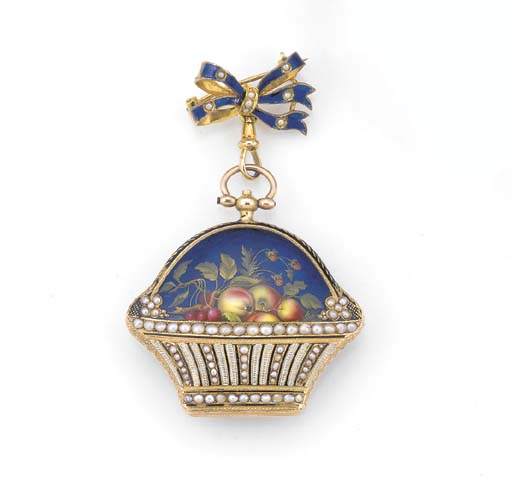 A GOLD, ENAMEL AND PEARL SET C