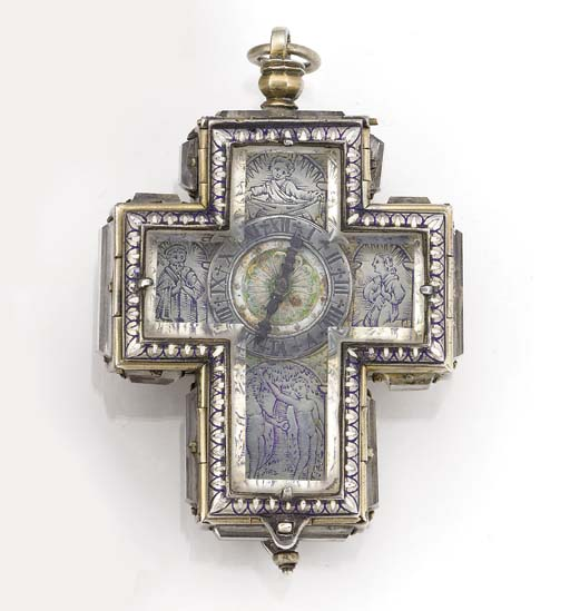 A SILVERED METAL AND ENAMEL VE
