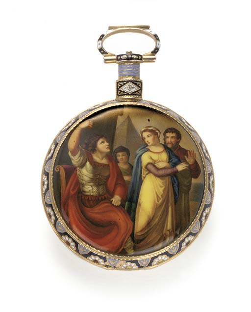 ILBERY, A GOLD AND ENAMEL OPEN